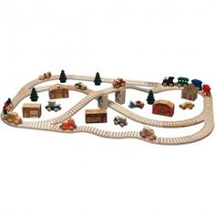 Ultimate Town Wooden Toy Train Set. 56 pieces! Quality made in the USA. From Bella Luna Toys.