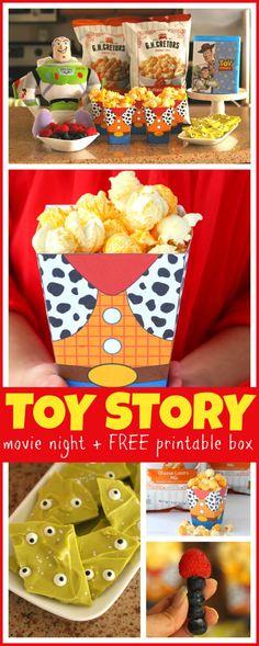 Easy Toy Story Movie Night Ideas   FREE Printable Popcorn Box - Raising Whasians #toystory #buzzlightyear #woody #toystory2 #toystory3 #toystory4 #movie #movies #party #partyplanning #freeprintable #disney