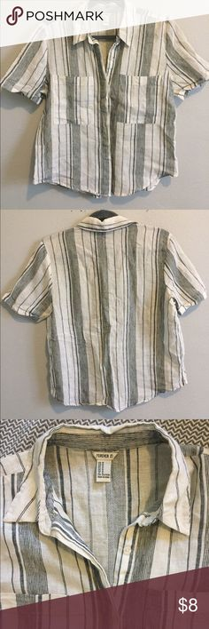Forever 21 - Boyfriend Blouse Boyfriend Blouse - button up loose fitting top with small black stripes. Forever 21 Tops Button Down Shirts