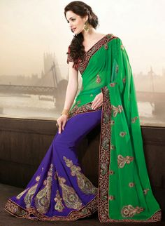 Beautiful Purple and Deep Green Saree