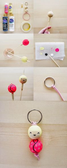 DIY Painted Bead Key Chain