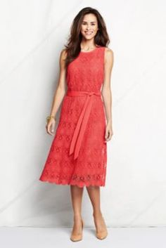 Women's Sleeveless Lace Column Dress from Lands' End. Also comes in a pretty cobalt blue!!