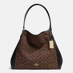 Coach Edie Shoulder Bag featuring polyvore, fashion, bags, handbags, shoulder bags, brown, woven handbag, slouchy shoulder bag, mini handbags, woven purse and mini purse