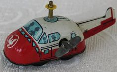Vtg 1950s Key Wound Mechanical Tin Litho Toy Spaceship Plane Car Space Age Japan