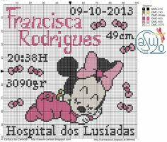 Cross Stitch Letters, Cross Stitch For Kids, Cross Stitch Baby, Cross Stitch Charts, Cross Stitch Embroidery, Mickey Mouse Characters, Disney Cross Stitch Patterns, Mickey And Friends, Baby Disney