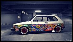 vw golf sticker bomb, love it