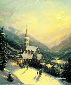 Moonlit Village by Thomas Kinkade     In my travels throughout America I've noticed that churches are often built on a hillside or knoll as a means of emphasizing their presence in a town, and I find this to be a particularly poignant concept. These hillside churches, like lighthouses, are high up, so that, figuratively speaking, their light might be seen from afar. I wanted to capture a bit of that feel in my painting, Moonlit Village.      — Thomas Kinkade