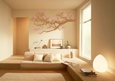 i love the inset couch an calm atmosphere- add some more natural elements and this would be an amazing meditation room