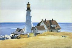 """Edward Hopper was a prominent American realist painter and printmaker. While he was most popularly known for his oil paintings, he was equally proficient as a watercolorist and printmaker in etching. (Wikipedia) (""""Portland Head Light"""" by Edward Hopper) American Realism, American Artists, Edouard Hopper, Cape Elizabeth Maine, Edward Hopper Paintings, Kunsthistorisches Museum, Oil Painting Reproductions, Museum Of Fine Arts, Oeuvre D'art"""