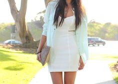 White dress , blue cardigan