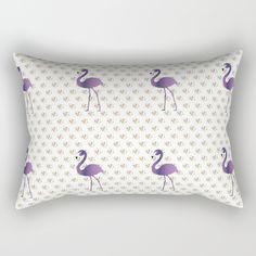 Flamingo On Floral Rectangular Pillow