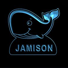 ws1037-0984-b JAMISON Whale Night Light Nursery Baby Kids Name Day/ Night Sensor LED Sign * More info could be found at the image url-affiliate link. #NurseryNightLights
