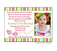 Items Similar To Photo Birthday Invitation Ladybug Printable Digital File 1st 2nd 3rd 4th Pink Green First On Etsy