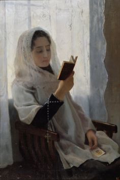 Reading (1891). Joan Llimona (Spanish, 1860-1926). Oil on canvas. Museu Nacional d'Art de Catalunya.Joan was the brother of Josep, a sculptor. Trained in Rome, on their return they became part of the Catalan art scene, where they quickly achieved a prominent position, especially after 1893, when they founded the Artistic Circle of Saint Luke, a body through which they defended artistic values in keeping with their religious beliefs.