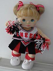 My Child Doll -- Cheerleader Sewing Clothes, Doll Clothes, My Child Doll, Handmade Dolls, Felt Dolls, Doll Stuff, Cute Dolls, Teddy Bears, Stuffed Animals