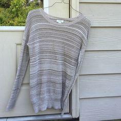 tan/cream loft sweater -size medium Long sleeve cream/tan sweater with hints of white ...worn twice LOFT Sweaters