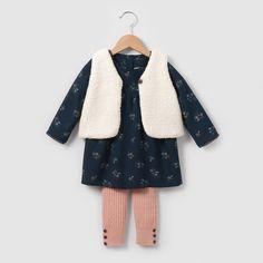 Set aus Gilet, Kleid und Leggings.  #Babymode #Outfit #Baby