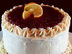 Orange Cake with Cream Cheese Frosting and Cranberry Glaze