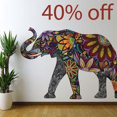 40% Off Irregular Elephant Graphic Wall Sticker Decal - Colorful Flower Pattern (SKU: IRREG-ELE- Med/Left)