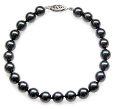 """PremiumPearl 7-7.5mm Black Akoya Cultured Pearl Bracelet AA+ Quality with White Gold Standard Clasp, 7"""" Length Premium Pearl. $110.00. Finished with a beautiful 14K gold clasp. The bracelet is strung on silk and knotted between each pearl. This beautiful pearl bracelet is made of fine black akoya pearls. These pearls are AA+ quality, with luminous black color, high luster, and smooth surface"""