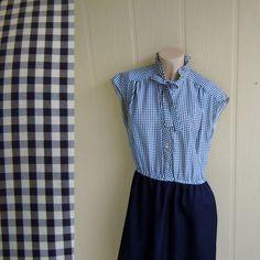 vintage ascot bow dress . black and white gingham . medium to large - buy at www.nesteggvintage.etsy.com