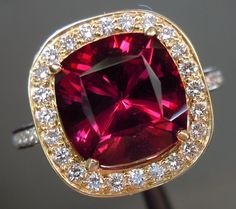 Rhodolite garnet and diamond ring.