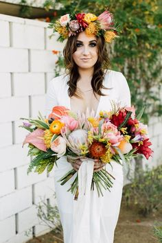 Bright colorful spring bridal bouquet // This Perfectly Playful Palm Springs Engagement Has Colors For Days