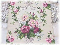 Vintage Pink Rose Barkcloth