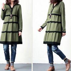Vestito di maglia a maglia a maniche lunghe a righe di cotone allentato femminile - Vestito