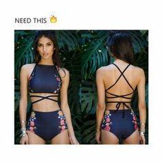 High Waist Womens High Neck Bandage Push Up Bikini Swimwear Padded Bra Swimwuit Bathing Suits For Teens, Summer Bathing Suits, Swimsuits For Teens, Cute Bathing Suits, Cute Bikinis, Cute Swimsuits, Swimwear Fashion, Bikini Swimwear, High Wasted Bikini