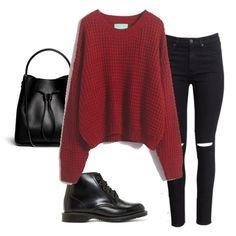 Stylish in wine red sweater! -SheIn