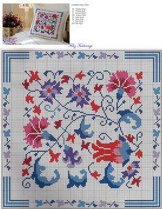 Risultati immagini per www filiz türkocağı Cross Stitch Designs, Cross Stitch Patterns, Crochet Patterns, Crewel Embroidery, Ribbon Embroidery, Cross Stitch Cushion, Polish Folk Art, Blue Cushions, Cross Stitching