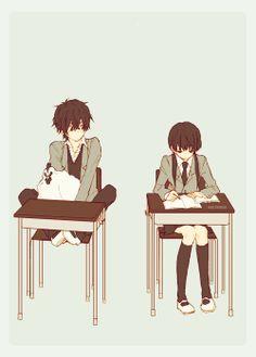 anime couple, he has a chicken :3 Manga: tonari no kaibutsu kun I LOVE THIS ANIME SO FUNNY