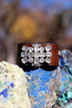 Vintage Jewel Leather Cuff Boho Chic Vintage by HappyGoLuckyJewels