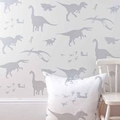 'D'ya-think-e-saurus' Dinosaur White Wallpaper - perfect for decorating a little boy's room, play room or nursery