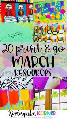 If you are a kindergarten or first grade teacher, this March Mega Bundle of 20 No and Low Prep Resources is for you! Check out ideas for Dr. Seuss' birthday, St. Patrick's Day, Spring, Women's History Month, Journal Writing, Bulletin Boards, Door Decorating, and so much more! #kindergartenteachers #iteachkinder #marchideas #marchactivities #stpatricksday #drseussbirthday #shamrocks #authorstudy #writersworkshop
