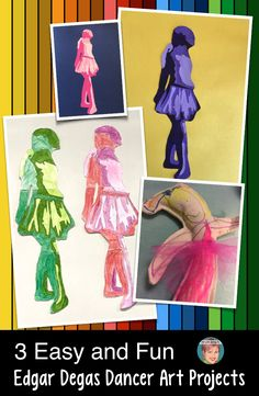 3 Easy and Fun Edgar Degas Art Projects. Great for art teachers, classroom teachers, homeschool families and parents. There is something for everyone with these fun Edgar Degas art projects. Classroom Art Projects, Easy Art Projects, Art Classroom, Class Projects, Art Lessons For Kids, Art Lessons Elementary, Art For Kids, Kids Fun, Degas Dancers