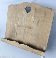 Shabby Rustic Chic Wooden Heart Cook Recipe Music Book Holder Stand ~ Natural