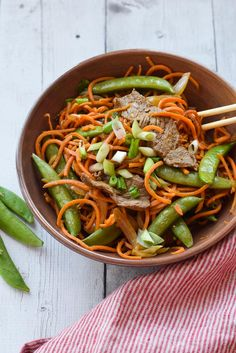 Sweet Potato Noodle Stir Fry with Steak is a hearty, flavorful dinner full of vegetables including spiralized sweet potato noodles. {gluten free, low carb}