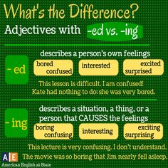 difference adjectives with ed, ing