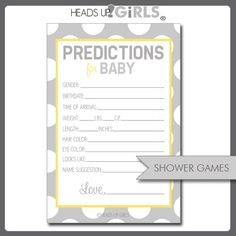 Digital Printable Yellow and Gray Gender Neutral Baby Prediction Game Cards for Baby Showers by HeadsUpGirls, $8.00