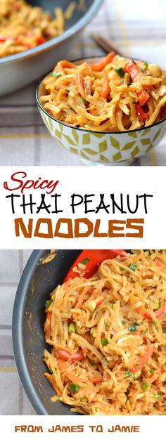 Spicy Thai Peanut Noodles | These Spicy Thai Peanut Noodles are made in quick time (15 minutes if you're Jamie Oliver-esque, 25 if you're more like me) and are extremely simple. That being said, they hit the spot just right. @jamestojamie
