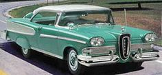 1958 Edsel. rear wheel drive automatic three speed 410 cu.in displacement. 345 HP and 475 ft lbs torque 0-60 in 7.3 seconds estimated mpg 9.9 respect the classics.