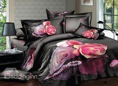 New Arrival Beautiful Pink Roses and Pearls Print 4 Piece Bedding Sets #rose #bedding @bedding inn