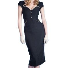 Uoften (TM) Fashion Women Vintage Bodycon Short-sleeved Pencil Dress Black (M, Black)