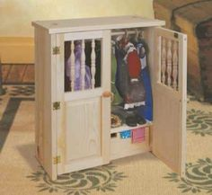 29-w1444kf - Doll Armoire Woodworking Plan. - Woodworkersworkshop® Online Store