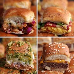Sliders Four Ways: BBQ Chicken Sliders, Breakfast Sliders, Chicken Parmesan Sliders, Cheeseburger Sliders Breakfast Slider, Chicken Breakfast, Chicken Sliders, Bbq Chicken Sandwich, Appetizer Recipes, Simple Appetizers, Love Food, Food To Make, Food Porn