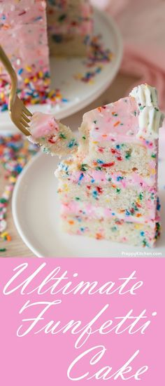 The Ultimate Funfetti Cake made with moist vanilla cake and a soft homemade buttercream recipe | Birthday Cake funfetti recipes desserts homemade cakes desserts sprinkles beautiful cakes