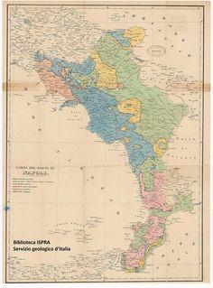 Carta geologica del Regno di Napoli (1842) di Pierre Alexandrowitsch De Tchihatcheff, geologo russo (1812-1890) #TuscanyAgriturismoGiratola