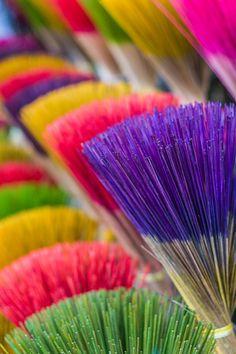 Coloured Brooms in Vietnam